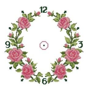Схема для вышивания Часы с розами
