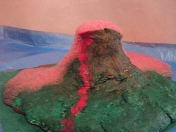Как сделать вулкан своими руками из теста - смотрим на извержение